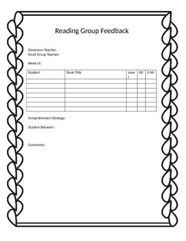 Reading Group Feedback Form