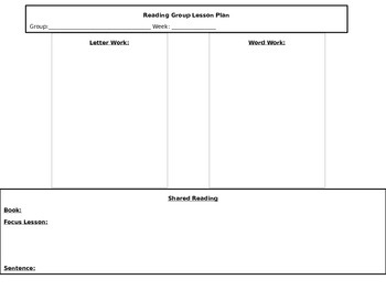 Reading Group Lesson Plan (Beg. of year)
