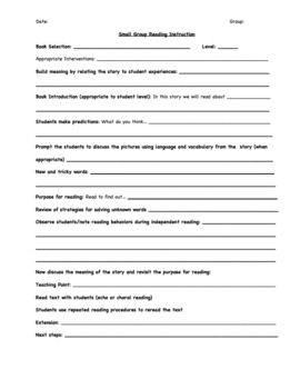 Reading Group Lesson Plan Template