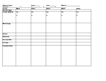 Reading Group Lesson Planner