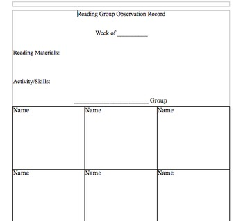 Reading Group Organizing and Assessment Template