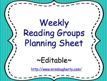 Reading Group Planning Sheet - Editable