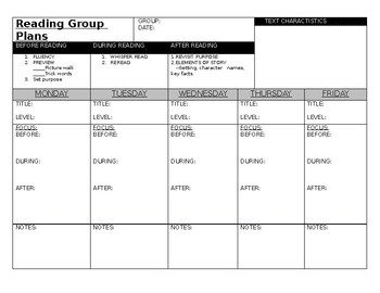 Reading Group Plans