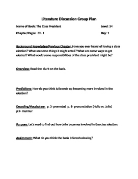 Reading Group Plans: Class President, level 34