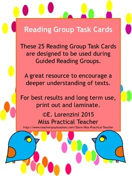 25 Reading Group Task Cards