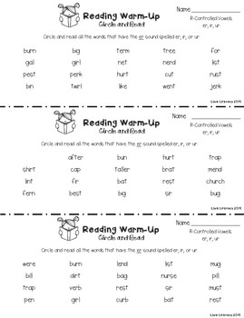 Reading Group Warm-Ups: R Controlled Vowels Circle and Read
