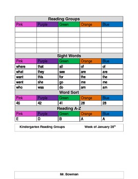 Reading Groups Leveled Weekly Template