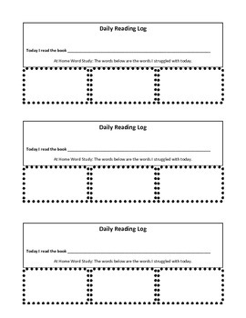 Reading Groups-Tricky Words Log