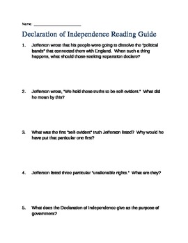 Reading Guide - Declaration of Independence