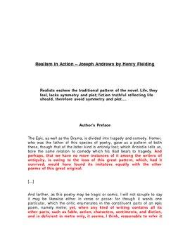Reading Guide/ Literary Terminology - Realism - Joesph Andrews