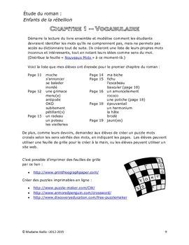Reading Guide / Novel Study - Enfants de la rébellion by Susanne Julien