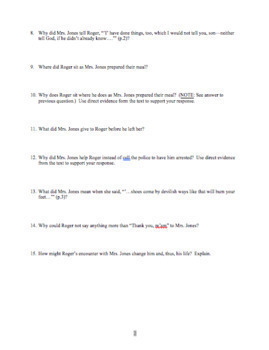 """Reading Guide Questions and Answer Key for """"Thank You, M'am"""" by Langston Hughes"""