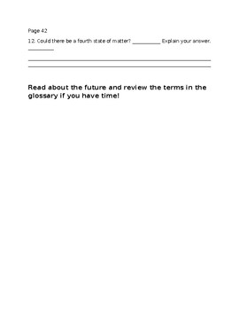 """Reading Guide Questions for """"Changing States"""" Easy Reader Worksheet"""