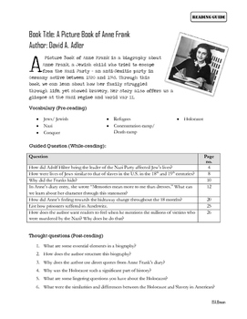 """Reading Guide for """"A Picture Book of Anne Frank"""""""