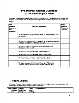Reading Guide for ANY Novel