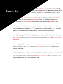 Reading Guide for America Pathways 870 to 881 with answer key