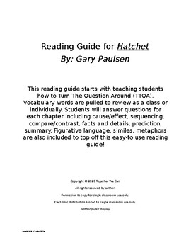 Hatchet by Gary Paulsen - A Complete Reading Guide with Vocabulary