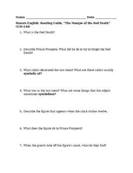 """Reading Guide for Poe's """"Masque of the Red Death"""""""