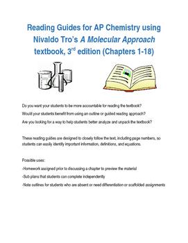 Reading Guides for AP Chem - Tro's A Molecular Approach, 3rd ed. (Chapters 1-18)