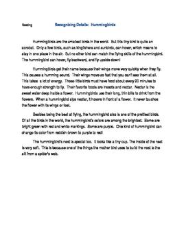 Reading: HUMMINGBIRDS
