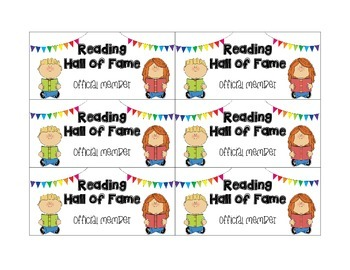 Reading Hall of Fame-Reading/AR Incentive Clip Chart