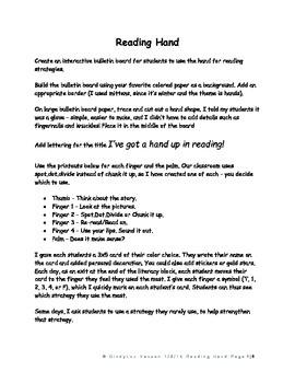 Reading Strategies - Hand Bulletin Board