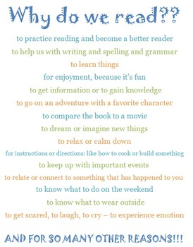 Reading Handout: Why do we read?