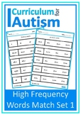 Reading High Frequency Words Match Autism Special Educatio