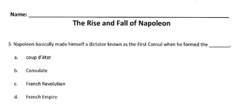 Reading & History NAPOLEON w/ Vocabulary Matching, Multiple Choice Comprehension