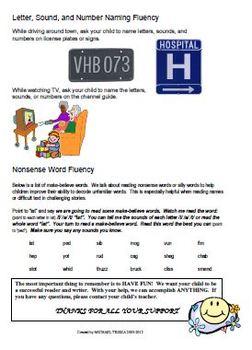 Reading, Home Fluency Packet - DIBELS Practice