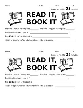 Read It, Book It (Reading Homework)