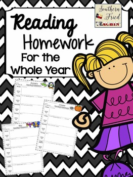 Reading Homework for the Whole Year - NO PREP