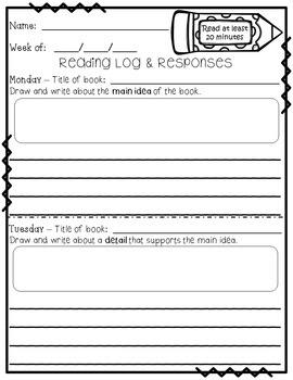 Reading Logs and Reading Response Sheets - Grades 3-5 - Good as Reading Homework