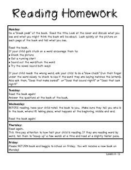 Reading Homework - Book Baggies