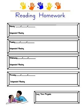 Reading Homework Chart