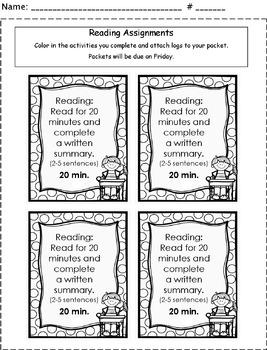 Reading Homework Checklist & Log