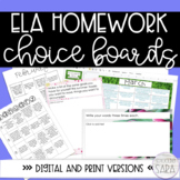 Reading Homework Choice Board