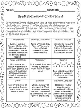Reading Homework Choice Board Freebie By The Thematic border=