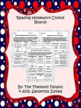 Reading Homework Choice Boards