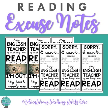 Reading Homework Excuse Cards