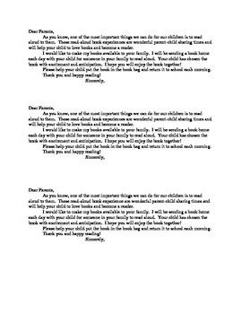 Reading Homework Letters
