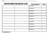 Reading Homework Log