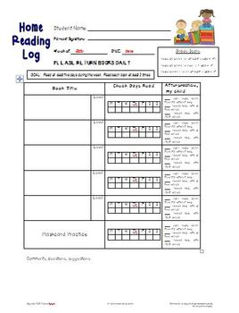 FREE Home Reading Log Form for Grades 1, 2, 3