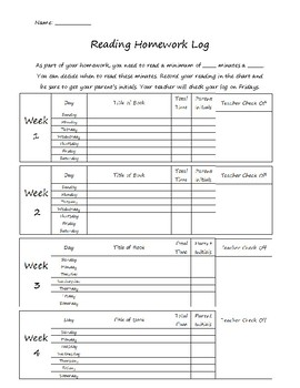 Reading Homework Log- Nine Weeks- Editable