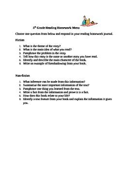 Reading Homework Menu 1