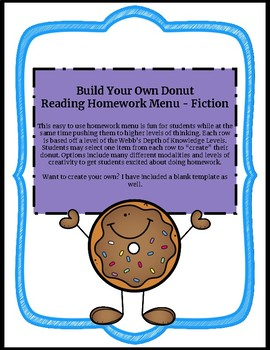 Reading Homework Menu for Any Fiction Text - Donuts Theme