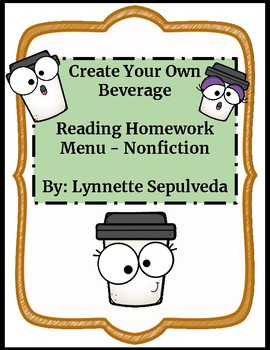 Reading Homework Menu for Any Nonfiction Text - Hot Beverage Theme
