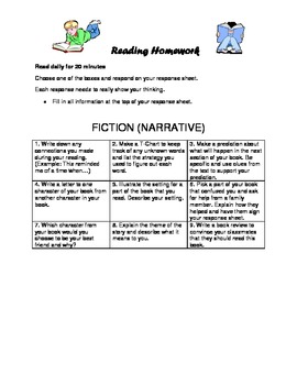 Reading Homework Menu for Fiction/Narrative Text