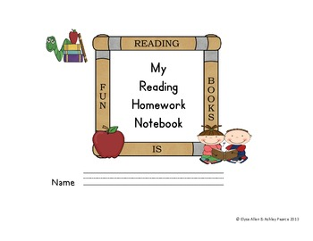 Reading Homework Notebook for K and 1st Graders