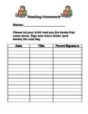 Reading Homework Sign Off Sheet